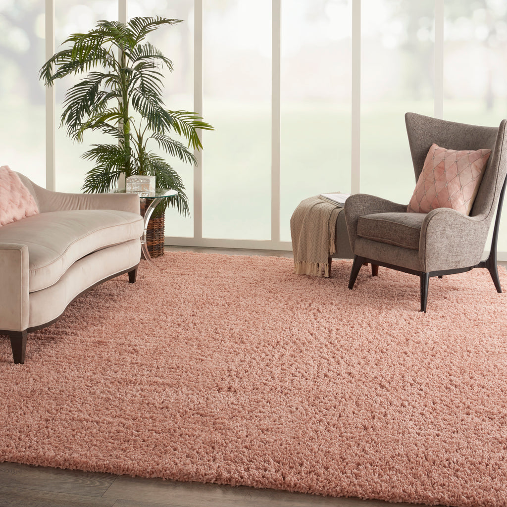 "Malibu Shag MSG01 Power-loomed 100% Polypropylene Blush 7'10"" x 9'10"" Rectangle Rug"