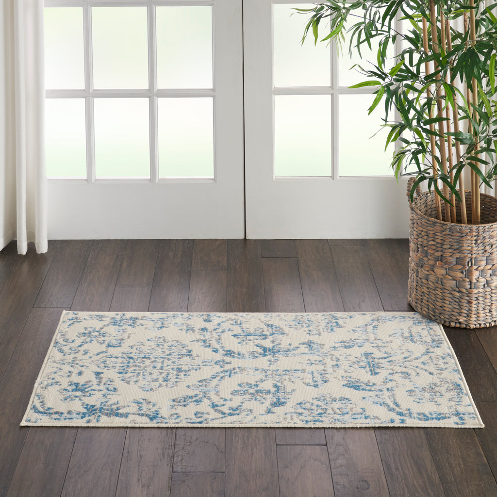Jubilant JUB09 Power Loomed 100% Polypropylene Ivory/Blue 2' x 4' Rectangle Rug