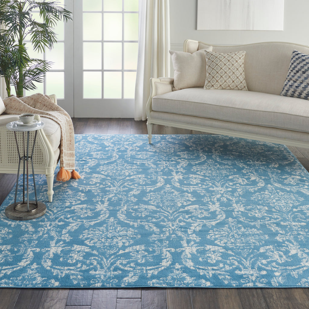 "Jubilant JUB09 Power Loomed 100% Polypropylene Blue 7'10"" x 9'10"" Rectangle Rug"