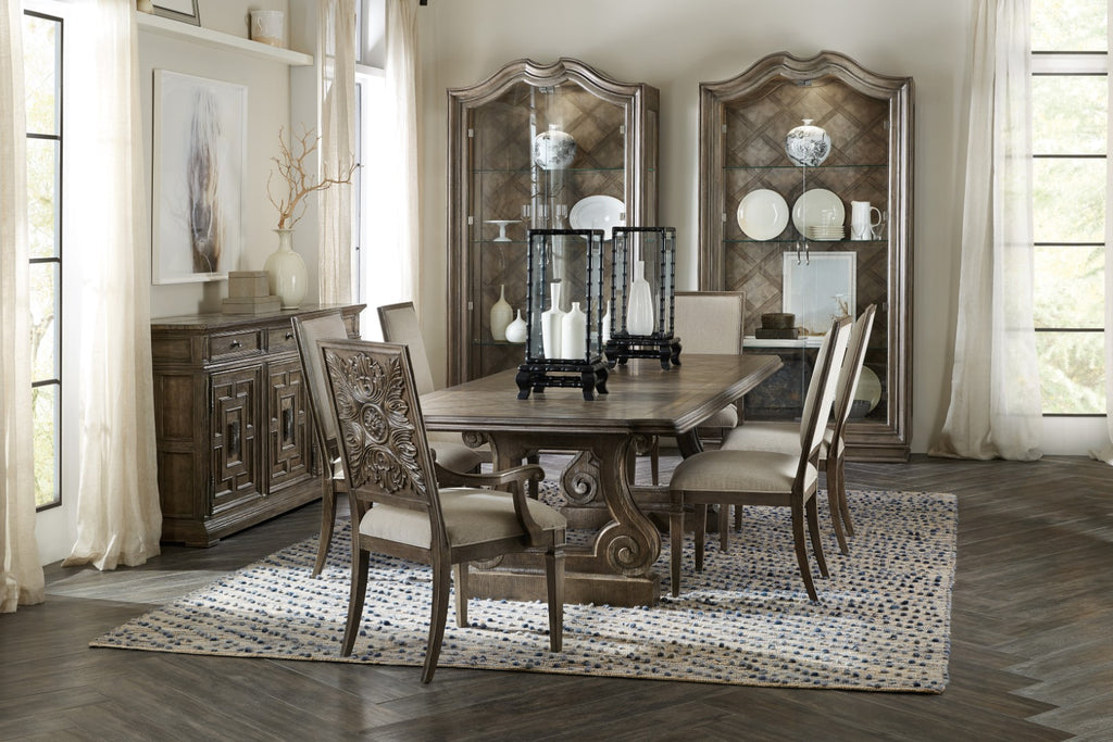 Hooker Furniture Woodlands Traditional-Formal Rectangle Dining Table w/ 2-22in Leaves in Poplar and Hardwood Solids with Quartered Oak, Flat Cut Primavera Veneers and Oak Burl, Plywood and Resin 5820-75200-84