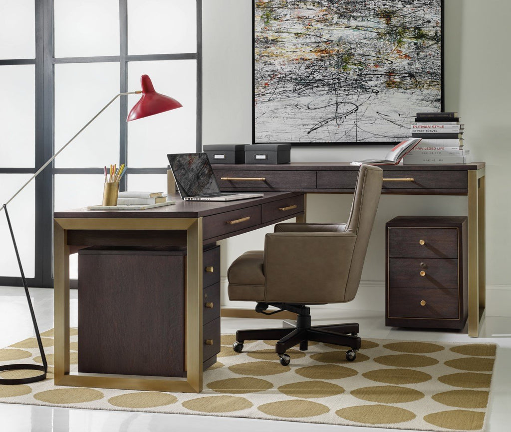 Hooker Furniture Curata Modern-Contemporary Tall Left/Right/Freestanding Desk in Rubberwood Solids with White Oak Veneers and Metal 1600-10473-DKW