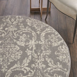 "Jubilant JUB09 Power Loomed 100% Polypropylene Grey 5'3"" x Round Round Rug"