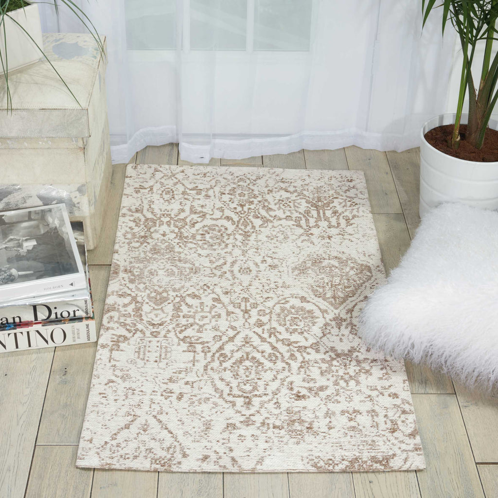 "Damask DAS06 Power Loomed 83% Polyester, 14% Cotton, 3% Rayon Ivory 2'3"" x 3'9"" Rectangle Rug"