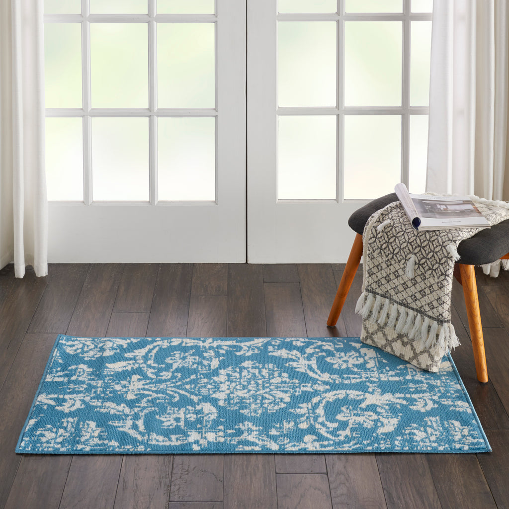 Jubilant JUB09 Power Loomed 100% Polypropylene Blue 2' x 4' Rectangle Rug