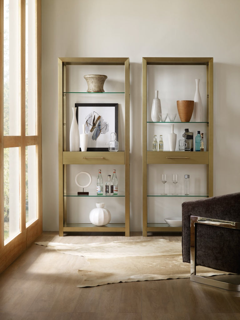 Hooker Furniture Curata Modern-Contemporary Bunching Bookcase in Metal and Glass 1600-10445-MTL1