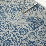 Damask DAS06 Power-loomed 83% Polyester, 14% Cotton, 3% Rayon Blue 5' x 7' Rectangle Rug