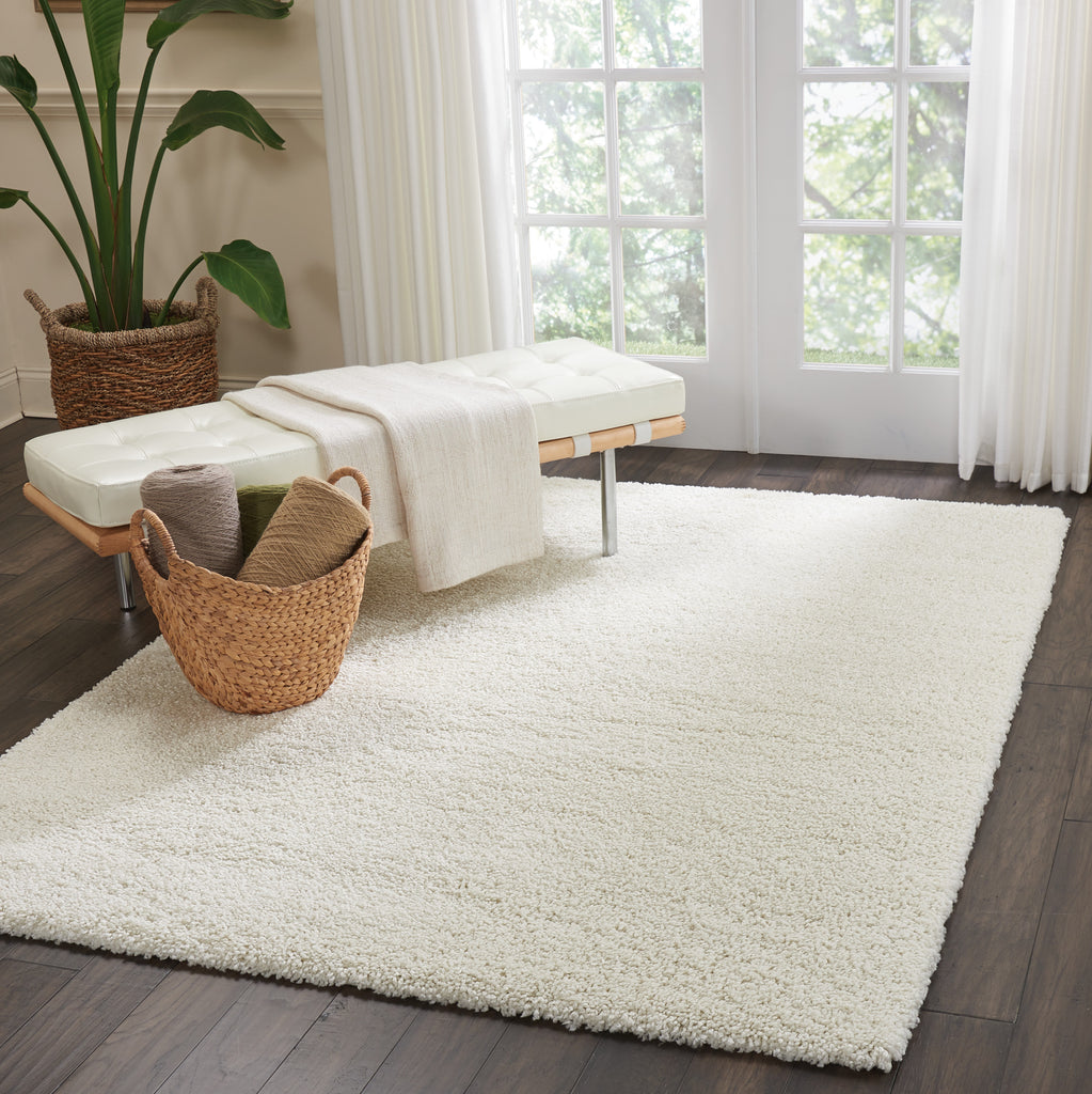 "Malibu Shag MSG01 Power Loomed 100% Polypropylene Ivory 5'3"" x 7'3"" Rectangle Rug"