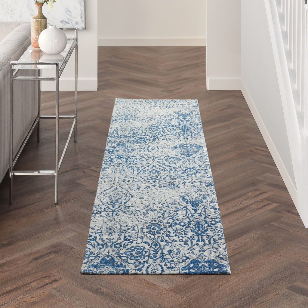 "Damask DAS06 Power-loomed 83% Polyester, 14% Cotton, 3% Rayon Blue 2'3"" x 7'6"" Runner Rug"