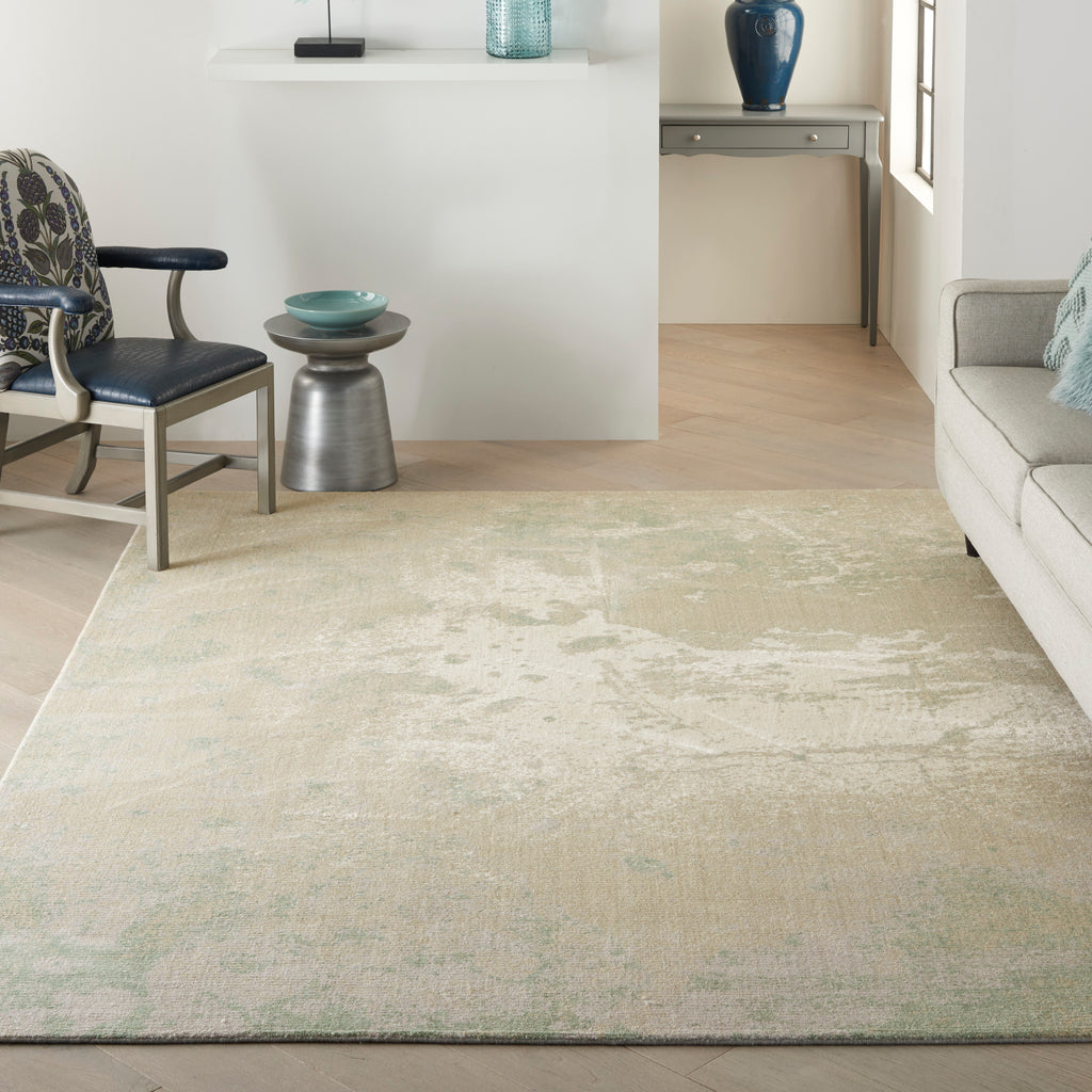 "Twilight TWI06 Loom-woven 40%Wool 60%Luxcelle Ivory Green 7'9"" x 9'9"" Rectangle Rug"