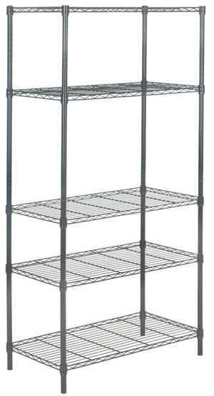Safavieh Ceasar Rack 5 Tier Chrome Wire Adjustable Dark Grey Steel Abs Pe Carbon HAC1006A 889048133518