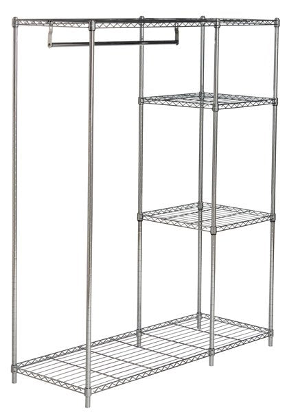 Safavieh Betsy Garment Rack Chrome Wire Adjustable Steel Abs Pe Carbon HAC1008A 889048133532
