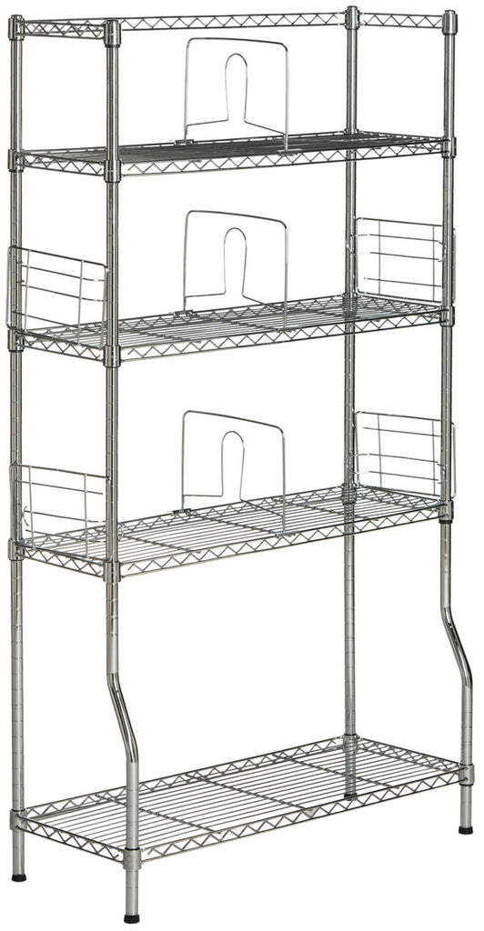 Safavieh Fernand Book Rack Chrome Wire Steel Abs Pe Carbon HAC1017A 889048135925