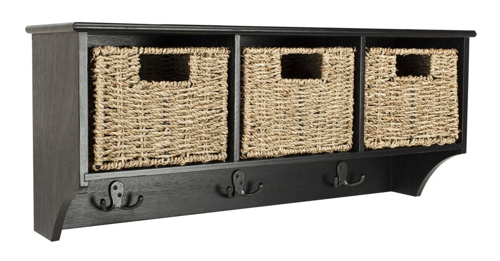 Safavieh Finley Wall Rack Hanging 3 Basket Black Water Based Paint Pinewood MDF Seagrass HAC5700A 889048309135