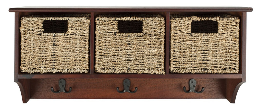 Safavieh Finley Wall Rack Hanging 3 Basket Cherry Water Based Paint Pinewood MDF Seagrass HAC5700B 889048309111
