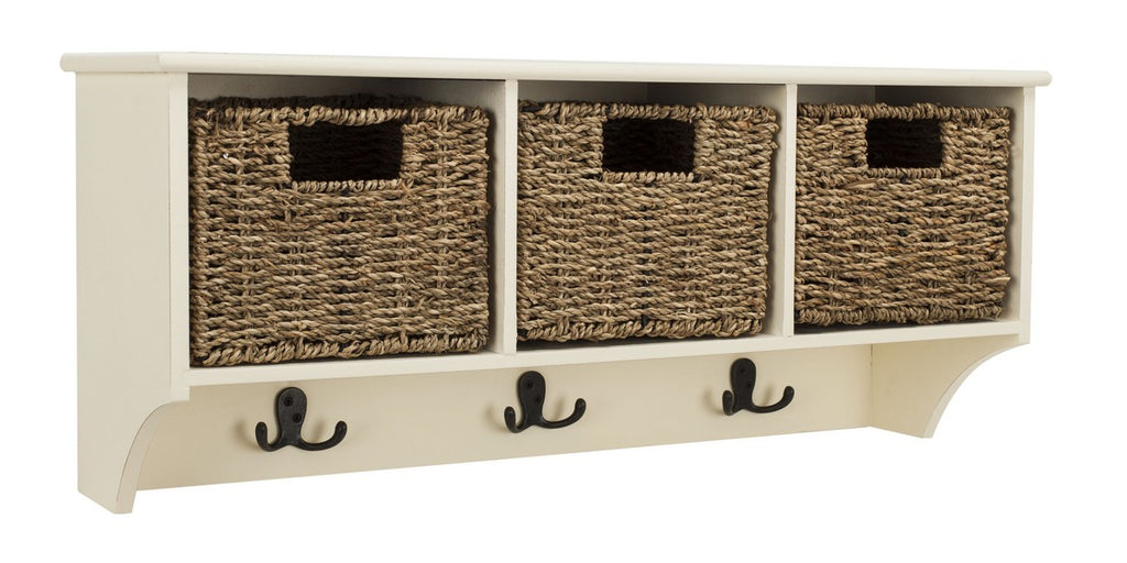 Safavieh Finley Wall Rack Hanging 3 Basket White Water Based Paint Pinewood MDF Seagrass HAC5700C 889048321762