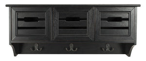 Safavieh Leon Wall Rack Hanging 3 Drawer Black Water Based Paint Pinewood MDF HAC5701A 889048411531