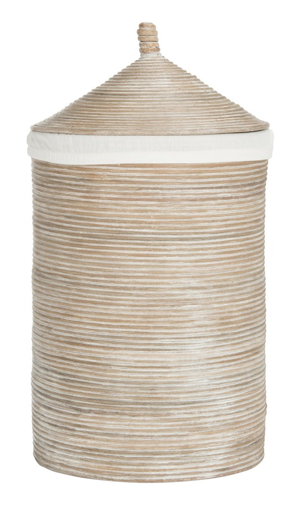 Safavieh Wellington Storage Hamper with Liner Natural White Wash Rattan Core HAC6501A 889048322066