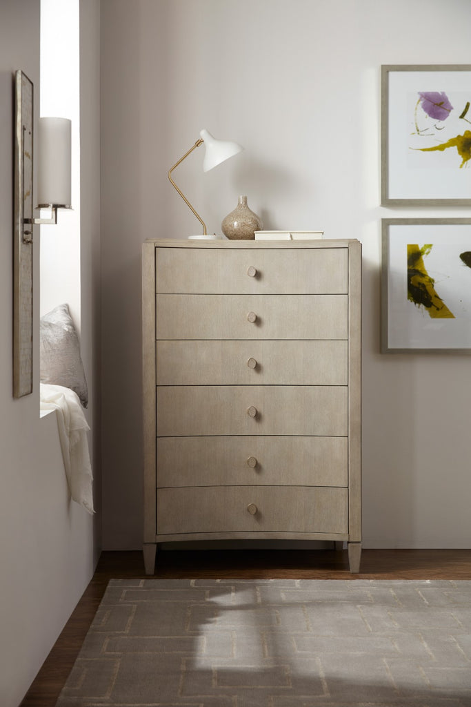 Hooker Furniture Elixir Modern-Contemporary Six-Drawer Drawer Chest in Rubberwood Solids with Chinese Walnut Veneers 5990-90010-LTWD