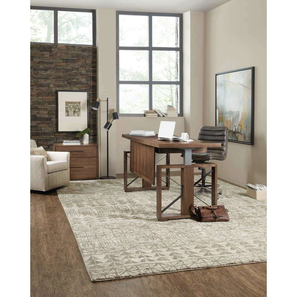 1650-10 Transitional Elon Lift Desk In Rubberwood Solids And Flat Cut Walnut Veneer And Metal