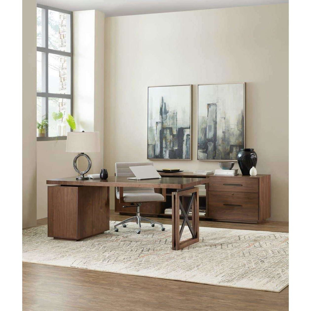 1650-10 Transitional Elon Two-Door Cabinet In Rubberwood Solids And Flat Cut Walnut Veneer