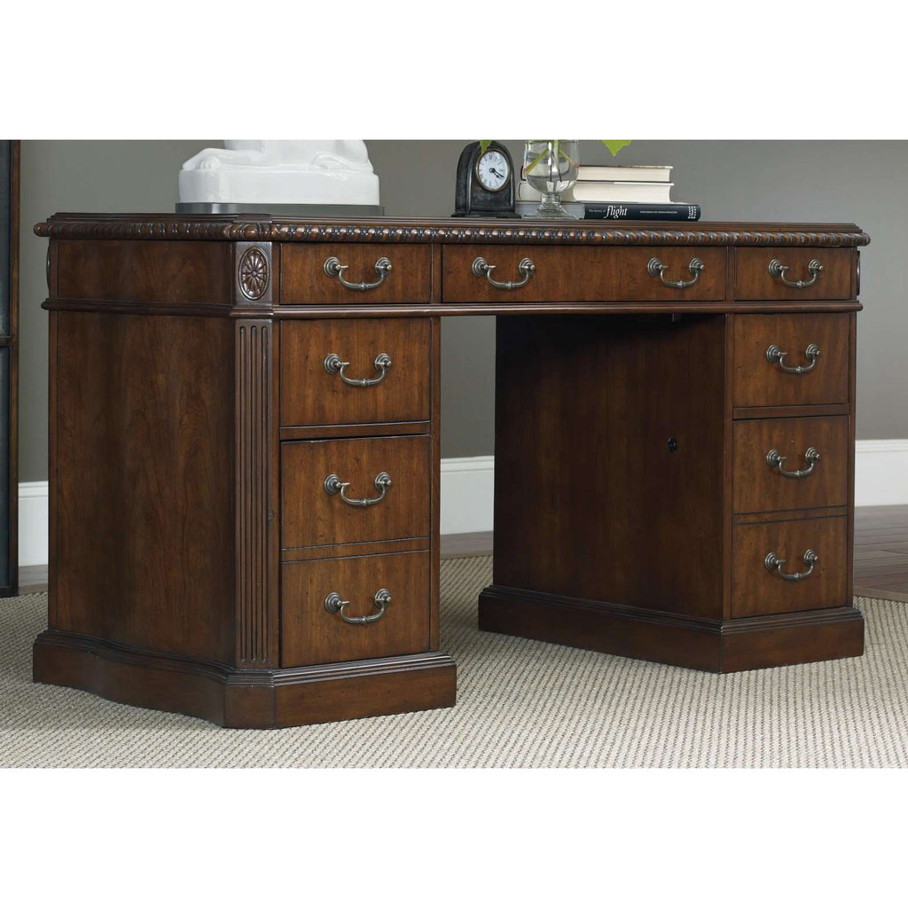 5082-10 Traditional-Formal 54'' Knee-Hole Desk In Hardwood Solids, Cherry Veneers, High Quality Bonded Leather