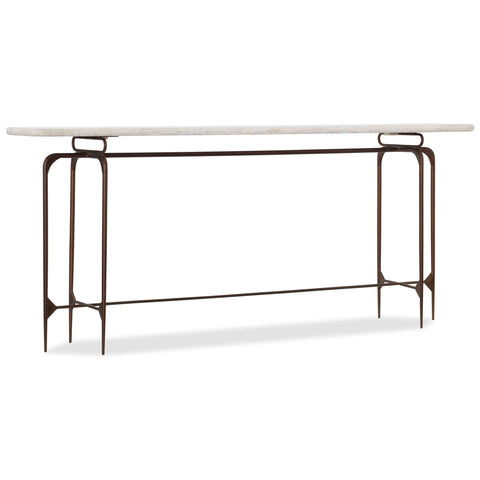 5633-85 Transitional Marble And Iron Skinny Metal Console