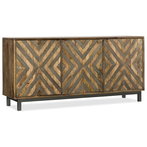 5649-55 Casual Mango Wood, Metal And German Silver Serramonte 69In Entertainment/Accent Console