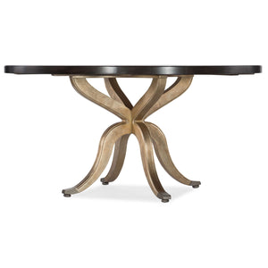 5834-75 Traditional-Formal Curvee 60In Round Dining Table In Poplar And Hardwood Solids With Silver Leaf And Metal Caps