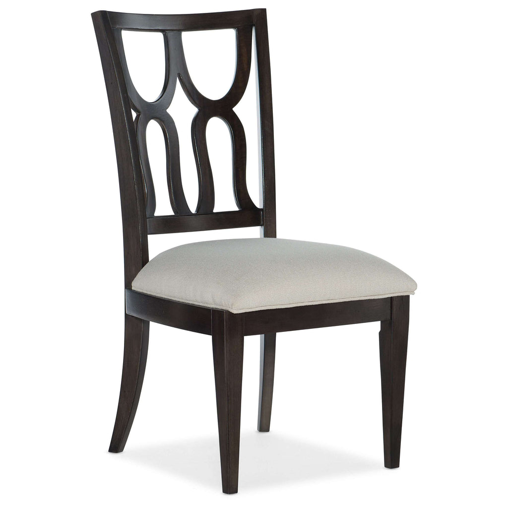 5834-75 Traditional-Formal Curvee Side Chair In Rubberwood Solids With Fabric And Maple Veneer - Set of 2