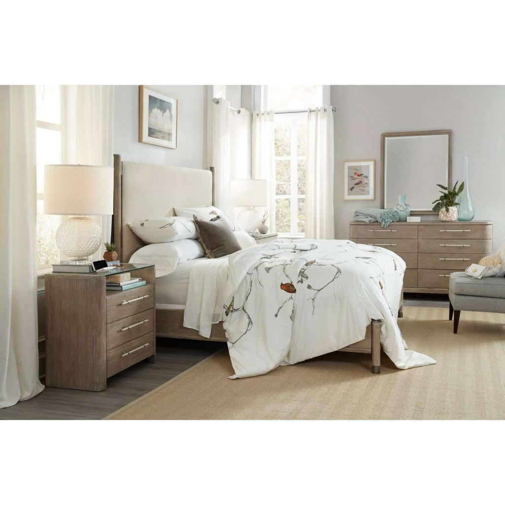 Affinity Transitional California King Upholstered Bed In Rubberwood Solids And Fabric