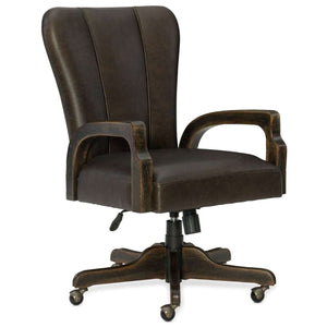 American Life-Crafted Casual Crafted Desk Chair In Rubberwood And Hardwood Solids With Leather And Foam