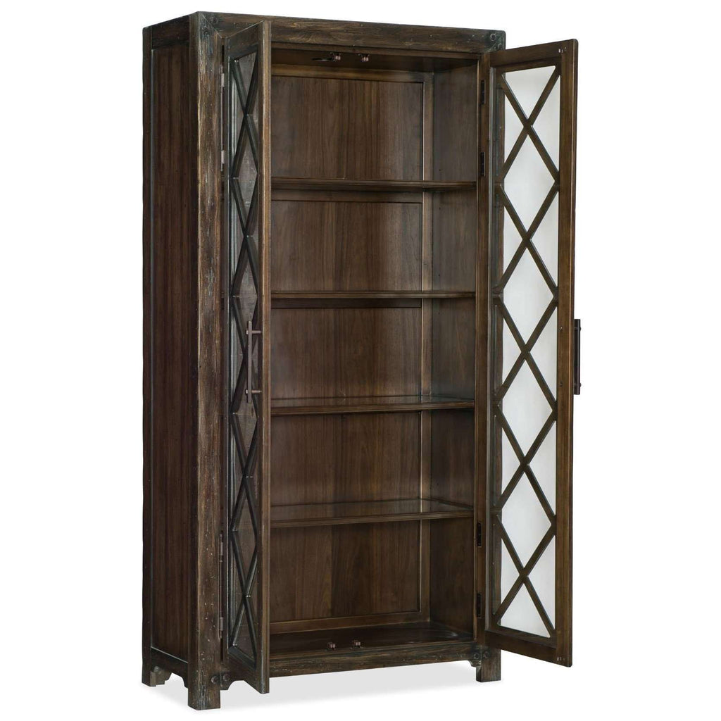 American Life-Roslyn County Casual Roslyn County Bunching Display Cabinet In Poplar And Hardwood Solids With Black Walnut Veneers And Seeded Glass