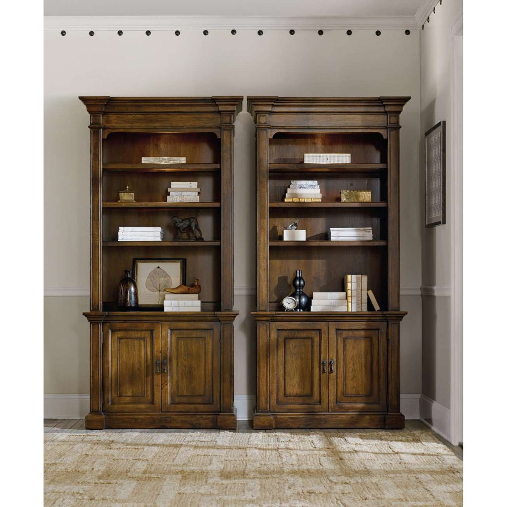 Archivist Traditional-Formal Bookcase In Rubberwood Solids And Pecky Pecan Veneers