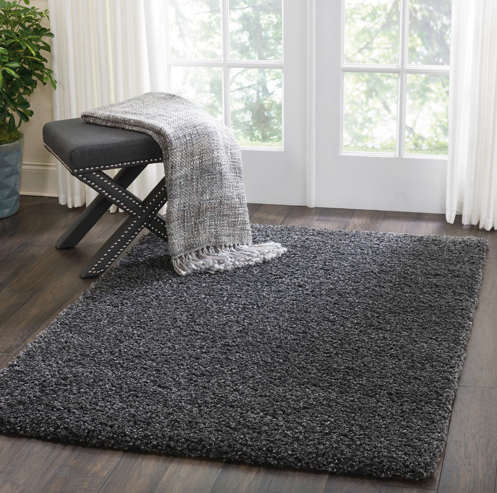 "Malibu Shag MSG01 Power Loomed 100% Polypropylene Dark Grey 3'11"" x 5'11"" Rectangle Rug"