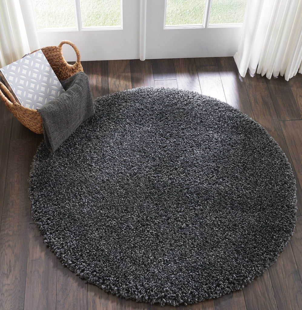 Malibu Shag MSG01 Power Loomed 100% Polypropylene Dark Grey 4' x Round Round Rug