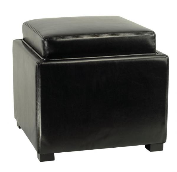 Safavieh Bobbi Ottoman Tray Storage Java Black PU NC Beechwood CA Foam Bicast Leather HUD4006B 683726935797