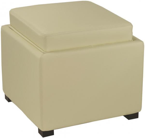 Safavieh Bobbi Ottoman Tray Storage Java Off White PU NC Beechwood CA Foam Bicast Leather HUD4006D 683726417392