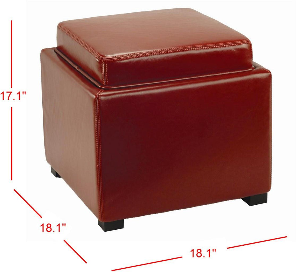 Safavieh Bobbi Ottoman Tray Storage Java Red PU NC Beechwood CA Foam Bicast Leather HUD4006R 683726438632