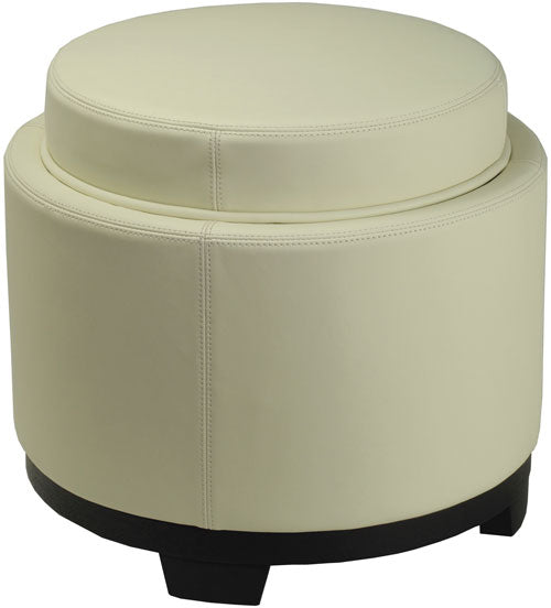 Safavieh Round Ottoman Storage Tray Black Off White PU NC Beechwood CA Foam Bicast Leather HUD4045D 683726417422
