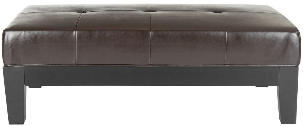 Safavieh Jordan Ottoman Cocktail Black Brown Water Based Paint Beechwood CA Foam Bicast Leather HUD4066A 683726321620