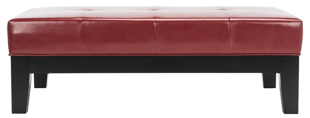 Safavieh Jordan Ottoman Cocktail Black Red Water Based Paint Beechwood CA Foam Bicast Leather HUD4066R 683726438656