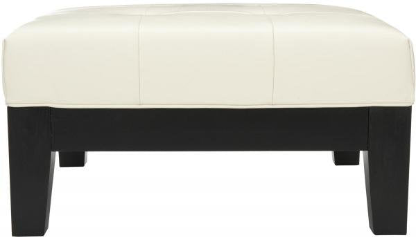 Safavieh Jordan Ottoman Square Cocktail Black White Water Based Paint Beechwood CA Foam Bicast Leather HUD4079C 683726792505