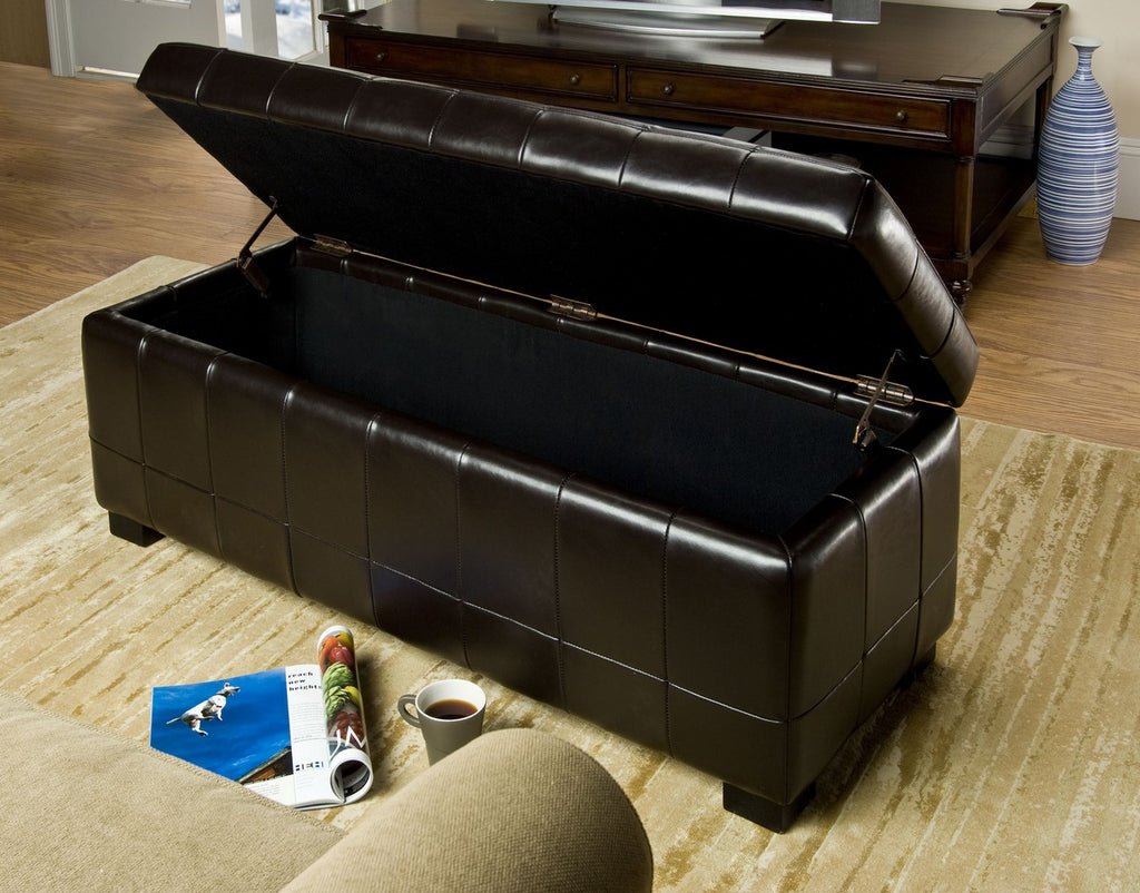 Safavieh Large Bench Manhattan Storage Brown Black Beechwood CA Foam Poly Fiber Bicast Leather HUD4200A 683726840213