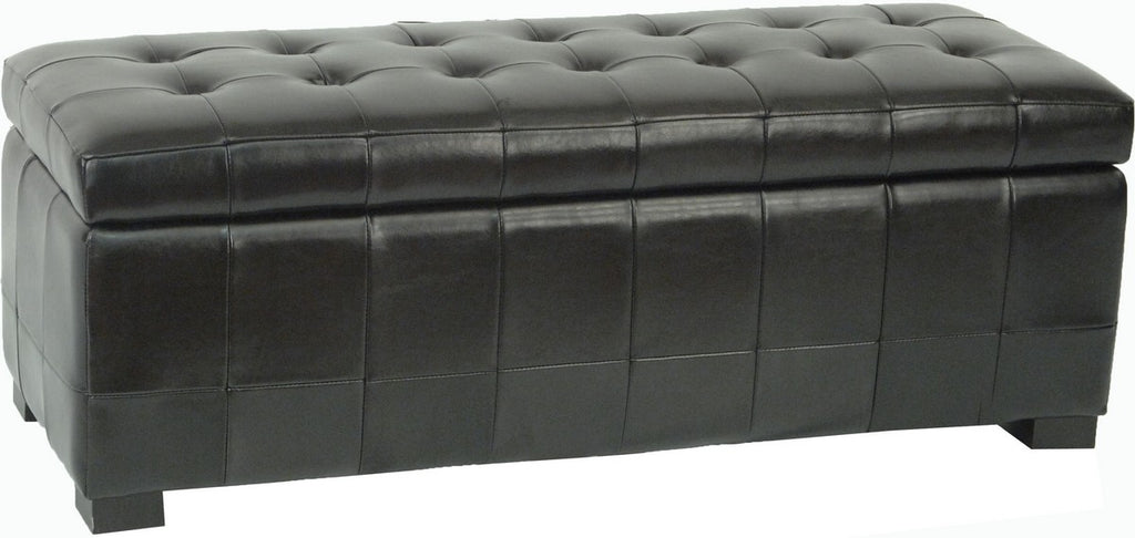 Safavieh Large Bench Manhattan Storage Black Beechwood CA Foam Poly Fiber Bicast Leather HUD4200B 683726912033