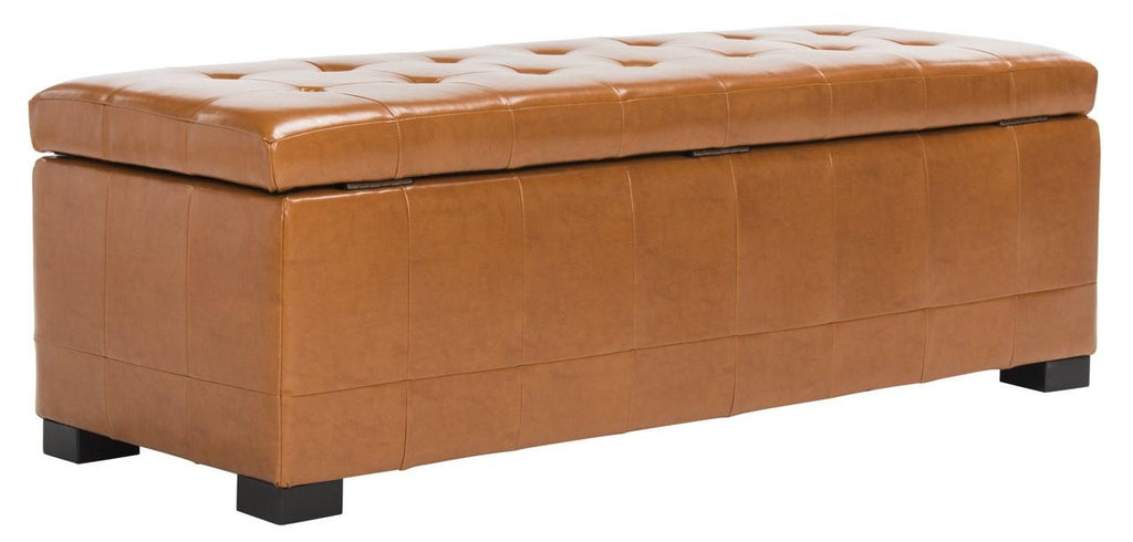 Safavieh Large Bench Manhattan Storage Saddle Black Beechwood CA Foam Poly Fiber Bicast Leather HUD4200C 683726912040