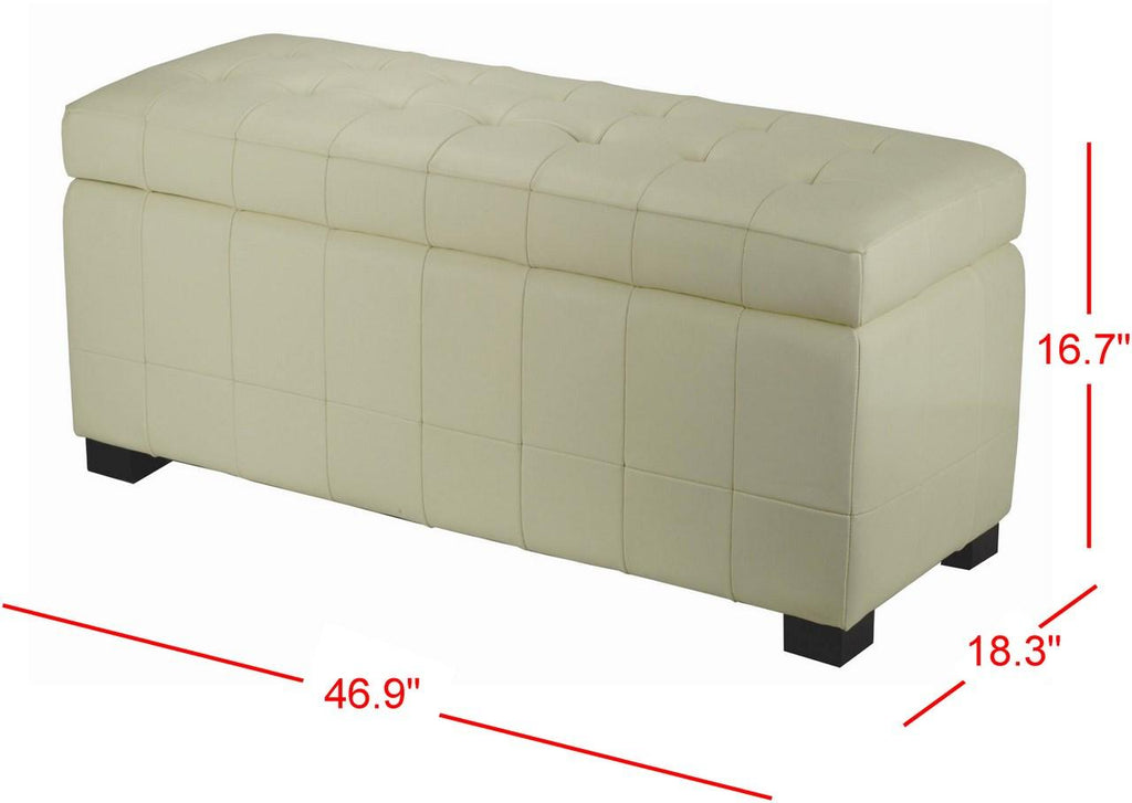 Safavieh Large Bench Manhattan Storage Off White Black Beechwood CA Foam Poly Fiber Bicast Leather HUD4200D 683726417408