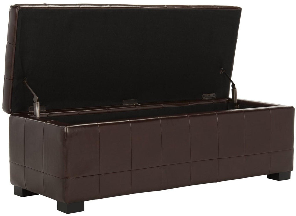 Safavieh Large Bench Manhattan Storage Cordovan Black Beechwood CA Foam Poly Fiber Bicast Leather HUD4200E 683726443124