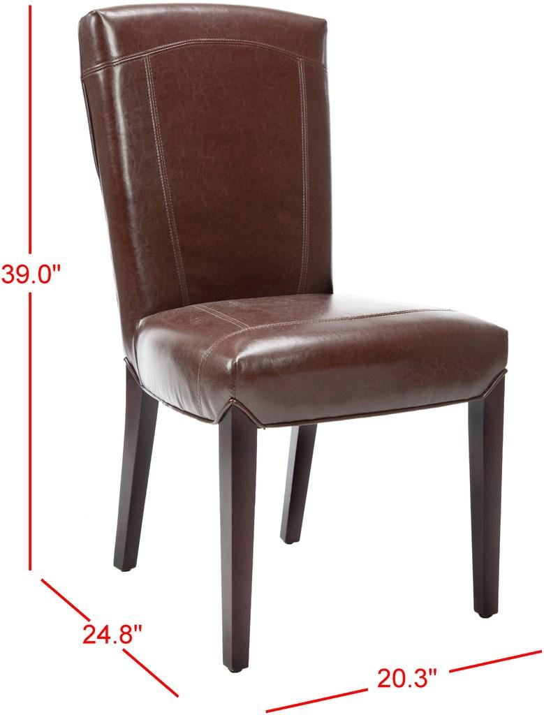 Safavieh - Set of 2 - Ken Side Chair 19''H Leather Brown Cherry Mahogany Wood Birch Bicast HUD8200A-SET2 683726636397