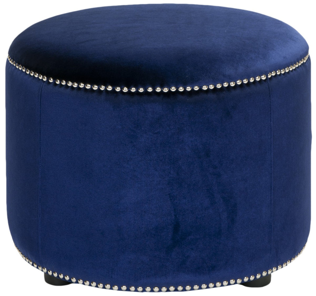 Safavieh Hogan Ottoman Royal Blue Black Beechwood Stainless Steel Velvet poly HUD8208F 683726404514