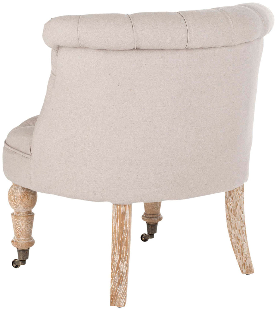 Safavieh Baby Chair Tufted Taupe White Wash Wood Birch Linen HUD8209B 683726506522
